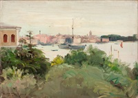 italian landscape with moored boats by oliver dennett grover