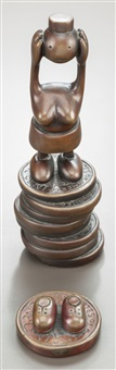 penny with shoes; woman without head on stack of pennies (2 works) by tom otterness
