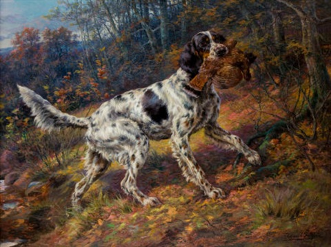 english setter with grouse by edmund henry osthaus