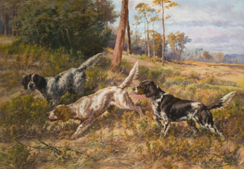 english setters in field by edmund henry osthaus