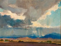 storm over a western landscape by oliver dennett grover