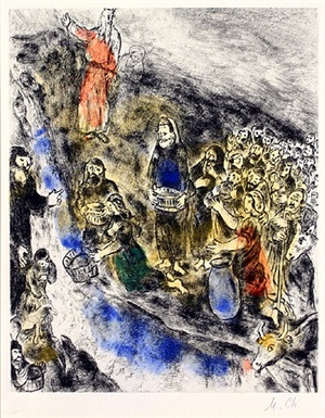 moses striking water from the rock, exodus, from the bible suite #36 by marc chagall