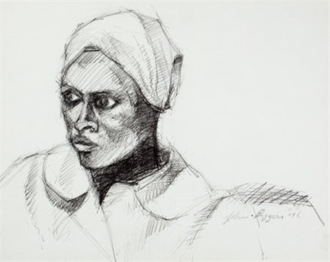 untitled head of a woman by john thomas biggers
