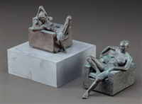 seated nude; reclining nude (2 works) by robert graham