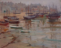 breton harbor scene by dixie selden