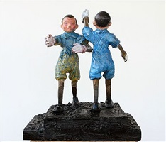 two pinocchios in blue by jim dine