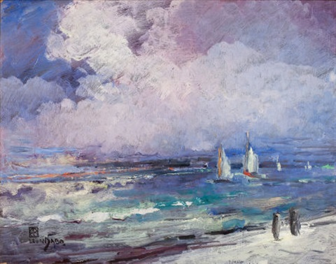 seascape with sailboats by leon dabo