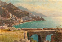 view of the amalfi coast, italy by william stanley haseltine