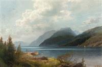 mountain lake, sagne fjord, norway by hermann herzog