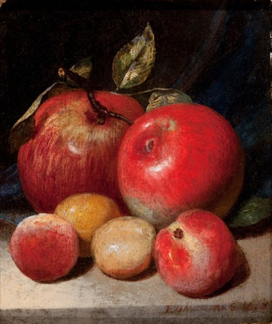 still life with apples and plums by peter baumgras