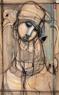 virgin mary (+ head of christ, ink, smllr; 2 works) by ben macala
