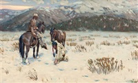 indian and cowboy tracking horse prints in snow by tim solliday