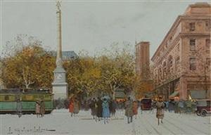la place du châtelet by eugène galien-laloue