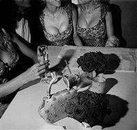 oscar party, hugh hefner and bunnies, los angeles, march, 2000 by larry fink
