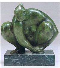 mujer en cuclillas by francisco zúñiga