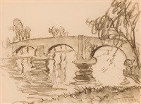 pink bridge, sonning by william samuel horton