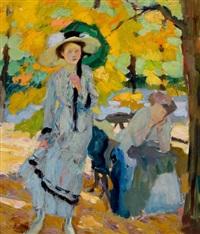 woman with umbrella by edward cucuel