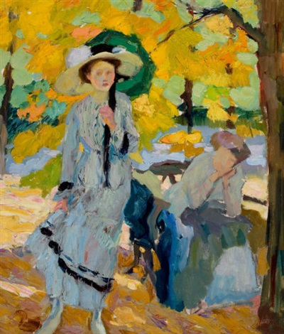 woman with umbrella by edward cucuel