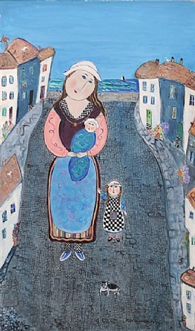 mother and children in st ives by dora holzhandler