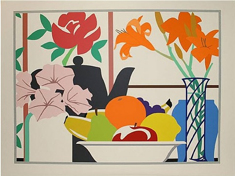 still life with petunias, lillies, and fruit by tom wesselmann