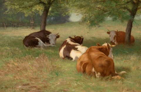 cows in a grassy field by william henry howe