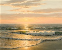sunset over the sea by josef m. arentz