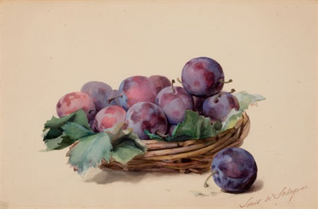 basket of plums by louis marie de schryver