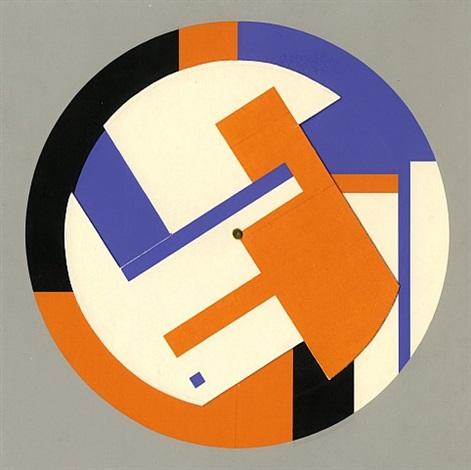 Georges Folmer Roto-peinture - bleu et orange , 1965 7.5 x 7.5 in. (19 ...