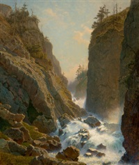 mountain with cascade by william stanley haseltine