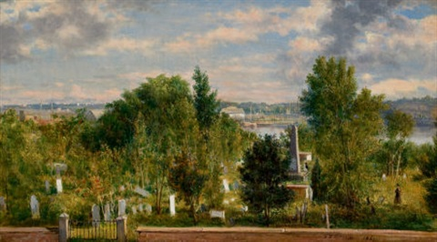 new england landscape with cemetery medford ma by george loring brown