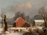 winter farmyard with ox-drawn sledge by george henry durrie