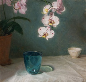 orchid with blue glass by grace mehan de vito (sold)