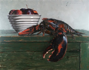 lobster and apples by vincent giarrano (sold)