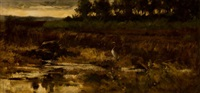 marsh landscape with egret by frederick stuart church