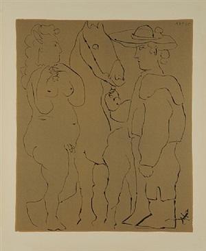 picador debout avec son cheval et une femme by pablo picasso