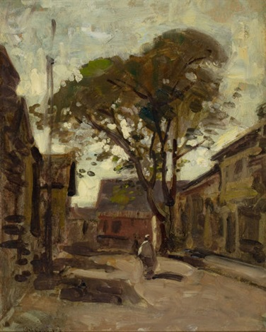 view of a town square with a man by paul cornoyer