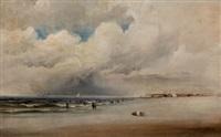 beach scene with dramatic sky by james hamilton