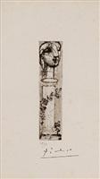 buste sculpté sur un socle by pablo picasso