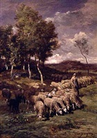 sheperdess with her flock by charles émile jacque