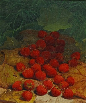 strawberries strewn on a forest floor by william mason brown