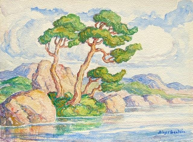 trees along a river - estes park colorado by birger sandzen