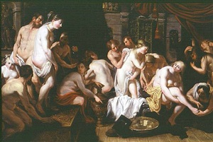esther in the women's house of ahasuerus by artus wolfaerts