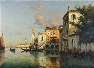 venetian scene with sailboats by antoine bouvard