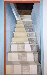attic staircase and sunlight by lois dodd