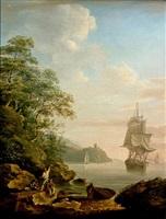 man-o-war at a coastal ancorage by nicholas pocock