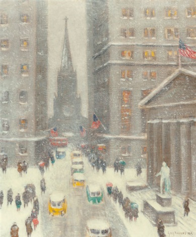 wall street storm old trinity new york by guy carleton wiggins