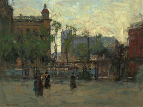 early evening empire park new york by paul cornoyer