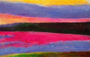 gray cloud magenta water #145 by wolf kahn