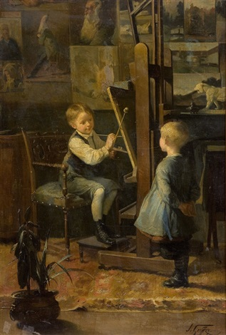 in the artists studio by henry jules jean geoffroy