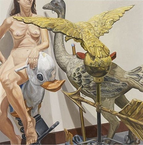 model with ostrich, eagle and duck by philip pearlstein